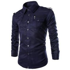 Navy Uniform Style Long Sleeve Men's Shirt with Zipper Design