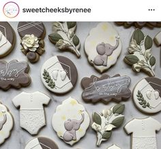 Leaf Cookies, Sugar Cookies, Cookie Designs, Royal Icing, Cookie Decorating, Announcement, Shower Ideas, Greenery, Biscuits