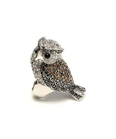 Look at this #zulilyfind! Silver & Crystal Owl Ring by Amrita Singh #zulilyfinds  $22.99