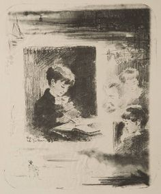 """Childs Gallery: """"Enfant dessinant (Jean Buhot)"""" by Félix Buhot (French (1847-1898)), Lithograph"""