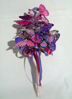 Pink & Purple Butterfly Bouquet by justanns on Etsy, $55.00