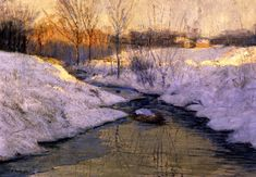 "Untitled, (also known as ""Winter Landscape""), Edward Willis Redfield, ca. 1897, oil on canvas, 19.88 x 28.88"", James A. Michener Art Museum."