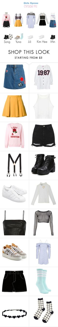 """""""Girls Xpress- Crush Pt.1"""" by sehunnny ❤ liked on Polyvore featuring Sans Souci, Chicnova Fashion, Guild Prime, Ashish, Topshop, Harrods, adidas Originals, T By Alexander Wang, Filling Pieces and Forever 21"""