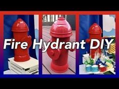 Easy DIY homemade, recycled, up cycled Fire Hydrant that is perfect for any firefighter / firemen themed parties, paw patrol party, etc. This table prop fire. Paw Patrol Birthday Decorations, Paw Patrol Party Favors, Diy Party Decorations, Paw Patrol Centerpieces, Church Decorations, Fireman Party, Firefighter Birthday, Firefighter Decor, Puppy Party