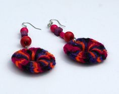 Multicolor Earrings in Purple, Orange Red Black and Violet Crochet Fiber Jewelry Fashion Accessories designed by dodofit on Etsy