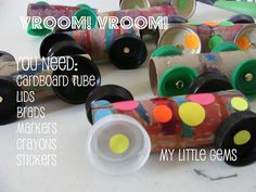My Little Gems: Cardboard Tube Cars {preschool transportation week}