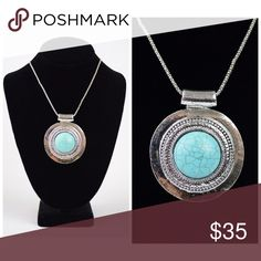 "PREORDER Stunning Turquoise medallion necklace Turquoise Medallion Necklace. Lobster Clasp Closure. Chain length up to 21"" Jewelry Necklaces"
