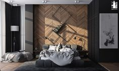 The next bedroom, from the same visualizer, also uses wood paneling to great effect. The chevron stripe design is on the lighter and more creative side, giving this cozy room a bit of an edge.