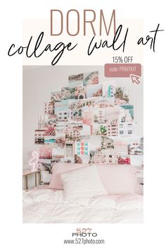 A collage photo wall is a college essential! #collegeapartment Dorm Design, Dorm Room Designs, Teen Bedroom Designs, Room Ideas Bedroom, Home Decor Bedroom, Apartment Decorating On A Budget, Apartment Ideas, New York City, Boho Room