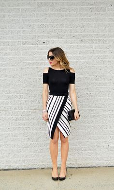 dress can fit up to medium to large body frame [freesize] spandex Dresses Near Me, Short Dresses, Office Outfits For Ladies, Style Noir, Black And White Tops, Black White Outfits, Black White Fashion, Nordstrom Dresses, Skirt Outfits