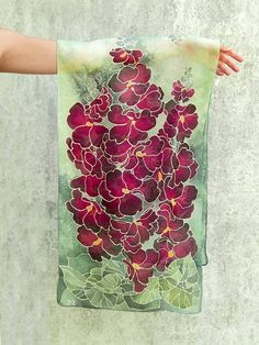 Long scarf Hollyhock silk scarf Alcea scarves hand painted - magenta flowers scarf - floral pattern scarf - summer accesories - gift for her Yarn Painting, Fabric Painting, Hand Painted Sarees, Mint Green Background, Magenta Flowers, Silk Art, Mode Vintage, Long Scarf, Flower Patterns
