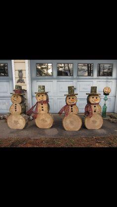 Christmas log snowmen