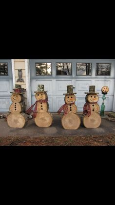 Christmas log snowmen