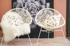 We bought these Acapulco chairs for the deck but they're so stylish that we've been using them indoors! We absolutely love them! Acapulco Chair, Home Goods Store, Floral Cushions, Warm And Cozy, Bassinet, Design Trends, Decor Styles, Living Spaces, Indoor