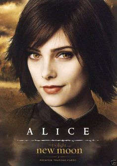 "This is Ashley Greene, the actress who plays Alice Cullen in the Twilight franchise. She has a ""Rachel"" look about her . Film Twilight, Alice Twilight, Twilight Saga Series, Twilight Cast, Twilight New Moon, Twilight Pictures, Jasper Twilight, Twilight Poster, Twilight Edward"