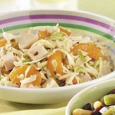 Mandarin Chicken Coleslaw Recipe -With only five ingredients, this fast and fabulous supper salad from Aileen Andres Sox in Meridian, Idaho is one recipe you'll want to keep handy all year long. Almonds add delightful crunch to the colorful blend!