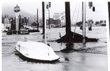 Photograph of capsized boat and flooding in Baken Park. #rapidcity