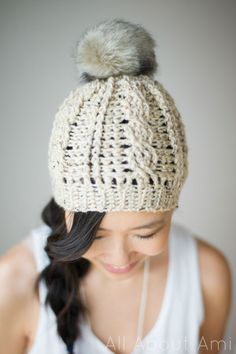 cabled beanie - crochet