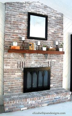 Whitewashed Brick Fireplace // I like that this still shows a lot of the brick's character while muting the palette down. I think we should do something like this with our fireplace! White Wash Brick Fireplace, Painted Brick Fireplaces, Fireplace Update, Paint Fireplace, Brick Fireplace Makeover, Fireplace Mantle, Fireplace Design, Fireplace Whitewash, Brick Fireplace Remodel