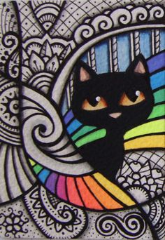 ACEO-Black-Cat-Rainbow-in-Zentangle-Inspired-Design-Original-Art --- Winning bid: US $89.88 Approximately AU $114.88