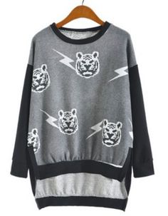 Dark Grey Batwing Long Sleeve Tiger Print Sweatshirt  #SheInside
