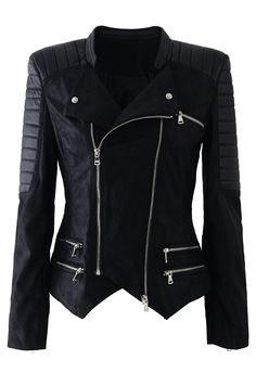 Leather Quilt Biker Jacket