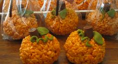 Ok, these are seriously the cutest Rice Krispie Treats I have ever seen!! These Pumpkin Rice Krispie Treats would be the perfect party favor. Make sure to Share this one with your friends  Here is the recipe courtesy of: thehighheeledhostess.com   Ingredients:  1 Stick Butter  2 (10 oz). Packages Marshmallows  12 C. Rice Crispy Cereal  1 tsp. Yellow Food Color  1/4 tsp. Red Food Color  Green Decorating Icing in Tube  Black Decorating Icing in Tube  Decorating Tips  Tootsie Rolls…