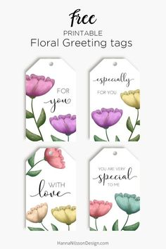 Hanna Nilsson Design – Prints and crafts Floral Printables, Free Printables, Free Printable Gift Tags, Printable Labels, Planner, Floral Watercolor, Paper Crafts, Eid Crafts, Gifts