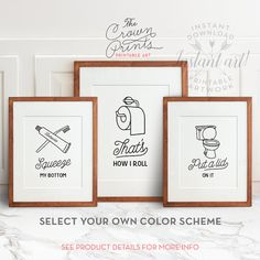 Funny bathroom art set of 3 PRINTABLE art by TheCrownPrints