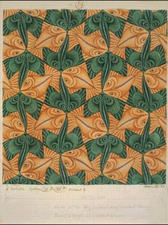 M.C. Escher – Two Fish (No. 59) India INk, Colored pencil and water color I couldn't find the demesions  The pattern in MC Escher's work is made up by sting ray looking fish and gold fish. The way he positions the two creatures, and the color's he chose, creates a pattern.