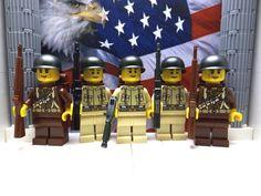 LEGO WWII 5x American 41st Armd Inf. Div. 1944 w/ M1 Garands, M1 Helmets