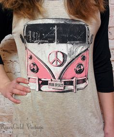 VW Bus Baseball Tee (Ladies) – Rose Gold Vintage