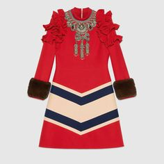 Gucci Embroidered wool silk dress