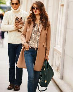 silk blouse + camel coat at KG Street Style