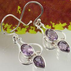 Genuine AMETHYST Gemstones 925 Sterling Silver Stunning Earrings Wholesale Offer #Unbranded #DropDangle
