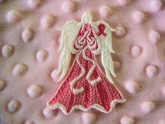 Lace Angel of Light Bookmark  Cancer Awareness Ribbon by AliDianne on etsy.