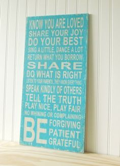 I like these family rules...'specially the listen to your parents bit!!!