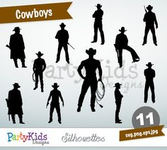 Cowboys Silhouettes, SVG Cowboys, Instant Download, svg, png, jpg and eps file types included, PS-296.