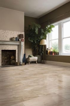 BuildDirect – Italian Porcelain Tile - Canton Series – Beige - Living Room View