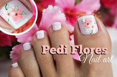 17 Ideas french pedicure designs toenails pretty toes for 2019 Pedicure Nail Art, Pedicure Colors, Toe Nail Art, Nail Manicure, French Pedicure Designs, Toe Nail Designs, Cute Toe Nails, Fancy Nails, Es Nails
