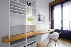 Love the built in bookcase / desk combo. - Create larger space for TV . Bookcase Desk, Wall Bookshelves, Built In Bookcase, One Bedroom Flat, One Bedroom Apartment, Studio Apartment, Small Apartment Decorating, Decorating Small Spaces, Home Office