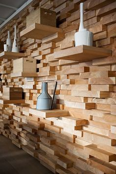 blocks of wood glued to wall to look like stone - Google Search