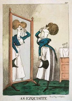 An exquisite. This dandy has a ridiculously small waist, over-styled hair, stretched neck and high collar, skinny little legs and wide trousers! Vintage Wall Art, Vintage Walls, Regency Era, Historical Maps, Fashion Plates, Metropolitan Museum, Caricature, Cartoon, Art Prints