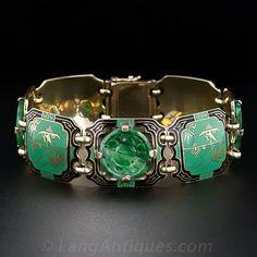 1930s Jade and Enamel Art Deco Bracelet - 40-1-4052 - Lang Antiques