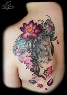 Lion with Flowers Tattoo by Nasa at Body Language Tattoo Shop NYC #tattoo #animaltattoo #cutetattoo
