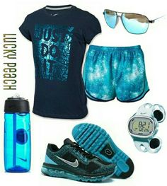Women's fashion blue Nike gym outfit