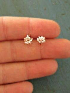 Sterling Silver Love Knot Earrings Beautiful Mess Tiny Stud Earrings Bridesmaid Gifts Shower gifts. $17.50, via Etsy.