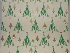 VTG 1940 WW2 ERA CHRISTMAS TREE WRAPPING PAPER GIFT WRAP - 3 YARDS