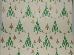 VTG 1940 WW2 ERA CHRISTMAS TREE WRAPPING PAPER GIFT WRAP - 3 YARDS