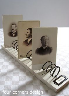 """DIY bed spring photo / card holder"" { i love the vintage feel of this little thingy...sepia photos and old-looking label }"